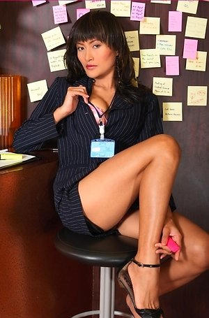 bella yong,close up,hairy pussy,milf,nude,office uniform,pussy,solo girl,spreading,