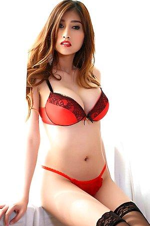 beautiful,big tits,black stockings,farsai,red lingerie,solo girl,