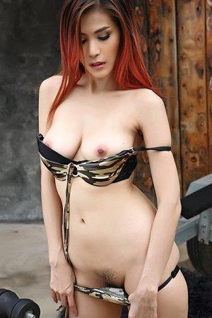 beautiful,big tits,bikini,jeans shorts,natalie wang,redhead,solo girl,