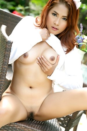 beautiful, big tits, hairy pussy, hot, outdoor, redhead, solo girl, winny sung,