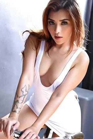 april,beautiful,cute asian,jeans shorts,posing,solo girl,tattoo,