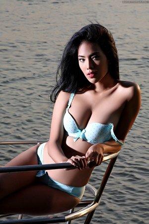 arya,beach,beautiful,brunette,long hair,outdoor,posing,slim body,solo girl,
