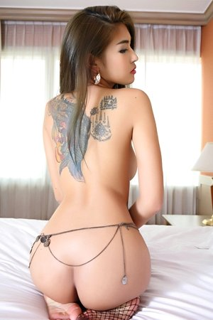 beautiful, bedroom, fishnet lingerie, panties, saipan, slim body, socks, solo girl, tattoo,