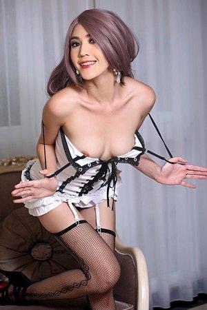 areeya oki,beautiful,lingerie,long hair,slim body,solo girl,stockings,