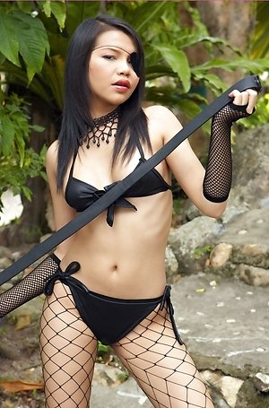 chelsea yung,close up,fishnet lingerie,hairy pussy,nude,outdoor,pantyhose,posing,pussy,solo girl,